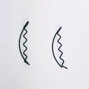 New! Matte Black Weave Ear Cuff Earrings